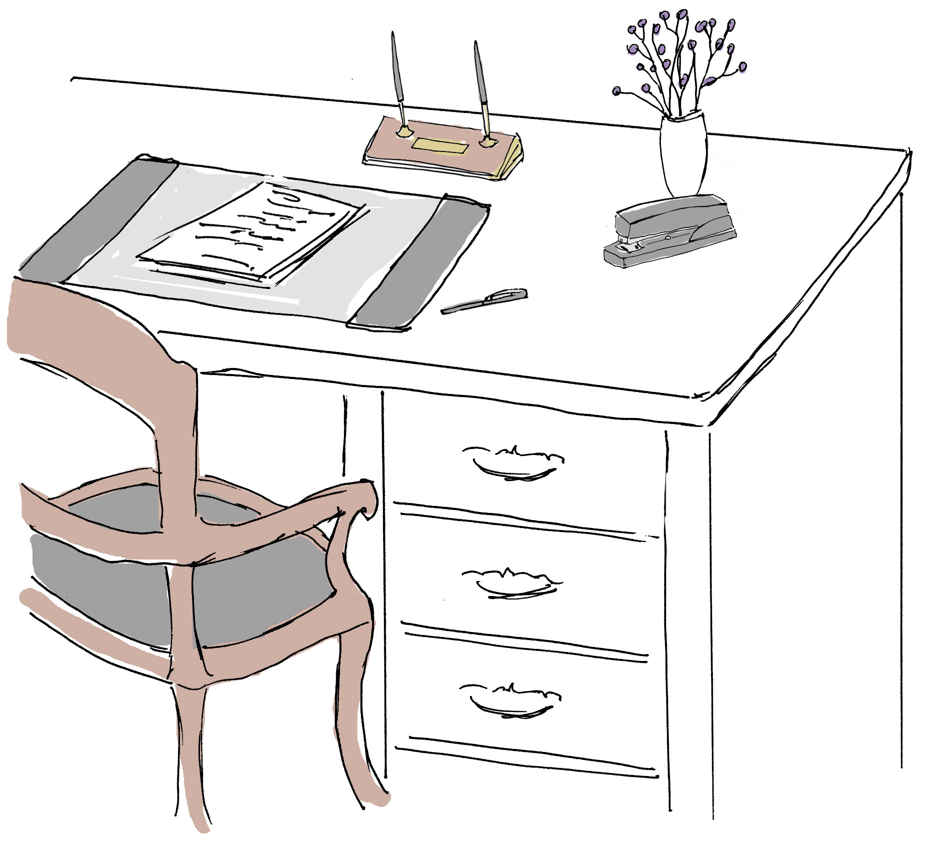 Writing Desk With Flowers